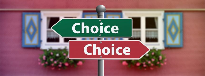choice signs pointing two ways - choosing a commercial property landscaper