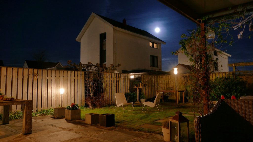 nighttime in the backyard - outdoor lighting for paths and accent